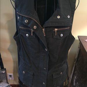 Inc Green Zip up Vest